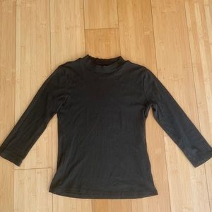 Zara dark green khaki mock neck top shirt sz Small